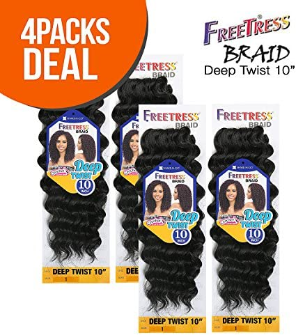 MULTI PACK DEALS FreeTress Synthetic Hair Crochet Braids Deep Twist 10 4 PACK 1B product image