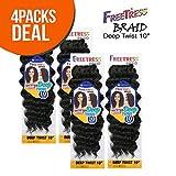 MULTI-PACK DEALS! FreeTress Synthetic Hair Crochet Braids Deep Twist 10' (4-PACK, 1B)