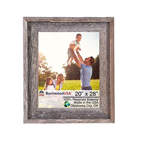 BarnwoodUSA | Farmhouse Style Rustic 20x28 Picture Frame | Signature Molding | 100% Reclaimed Wood | Rustic | Natural Weathered Gray