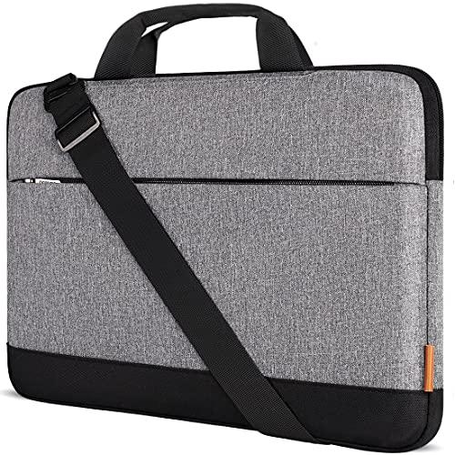 DOMISO 14 Pulgadas portátil de Bolsillo Bolsa de Hombro para 14' Chromebook S330 / ThinkPad A475 A485 E485 T480s / HP ProBook 640 645 G4 / DELL Chromebook 14, Gris