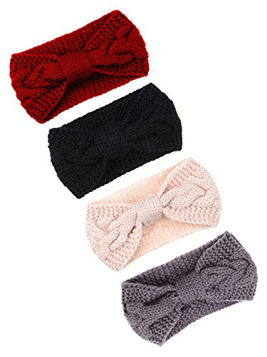Pangda 4 Pieces Cable Knit Headband Crochet Headbands Plain Braided Head Wrap Winter Ear Warmer for Women Girls, 4 Colors (Black, Beige, Grey, Wine Red)
