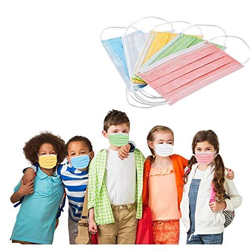 RUDOSE Einweg Mundschutz Kinder Gesichtsschutz Farbstoff Drucken Face Bandanas Mund und Nasenschutz Atmungsaktive Staubschutz Loop Halstuch für Jungen und Mädchen (50 Stück)