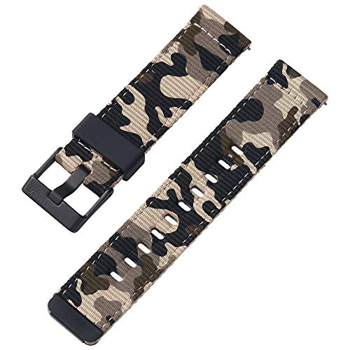 Timex 22mm Fabric Quick-Release Strap – Tan Camo with Black Buckle