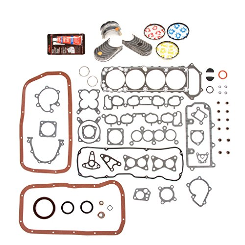 Evergreen Engine Rering Kit FSBRR3005AEVE Compatible With 89-97 Nissan 240SX D21 Pickup KA24E Full Gasket Set, Standard Size Main Rod Bearings, Standard Size Piston Rings