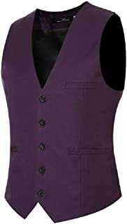 Mogogo Mens Skinny Sleeveless Business Dress Casual Waistcoat Blazer Vest