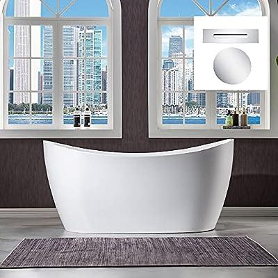 "WOODBRIDGE 59"" Freestanding Bathtub Contemporary Soaking Tub, White Acrylic (Chrome Drain/Overflow),B0016 C-Drain &O"