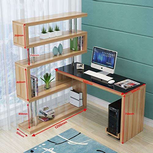 JiaQi Office Große Computertisch,l Förmige- Desk Mit Bücherregalen,Multipurpose Drehbar Computer-Schreibtisch Große Kapazität Workstation-p 160x50cm(63x20inch)