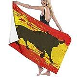 Toallas de baño,Toro español sobre una Bandera de España GrungedManta de Toalla Grande,súper Suave,Altamente Absorbente para baño,Playa o Piscina,52 'x 32'