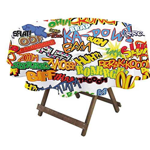 prunushome Superhero Round Table Cover Retro Comic Book Expressions Humor Icons Cartoon Scream Crash Pow Vintage Design for Dining Room Party Outdoor Picnic Multicolor   36' Round