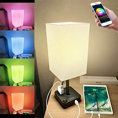 COZOO Smart RGB & USB Bedside Table Lamp with 3 USB...