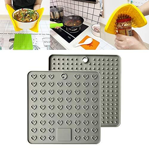 Almohadilla de drenaje anti-combustión multifuncional de silicona de silicona, adecuado para recolectar gotitas de agua en la vajilla, mantener la mesa o estufa limpia y ordenada, pitholder de cocina,