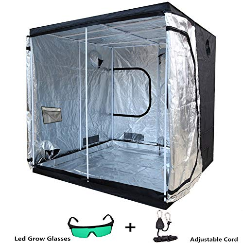 Indoor Grow Box, Tent Hydroponic Indoor Grow Box and Grow Room with Observation Window, Plant Lmap Glasses and 1/8 Inch Nylon and Floor Tray 240 * 240 * 200(94.4'x94.4'x78.7')