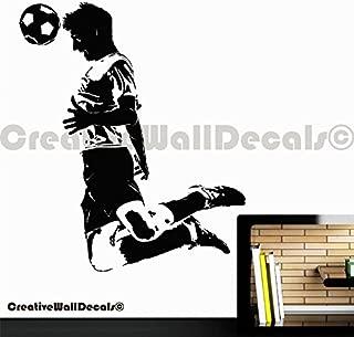 Vinyl Wall Decal Sticker Football Player Kicking Soccer...