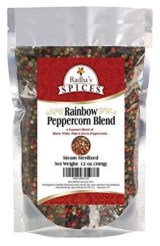 Radha's Four Peppercorn Rainbow Blend - Steam Sterilized - Black, White, Green & Pink Peppercorns - 12 Ounce Bag