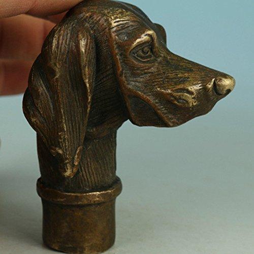 Fierce chino antiguo bronce tallada a mano estatua de perro bastón cabeza colección 🔥