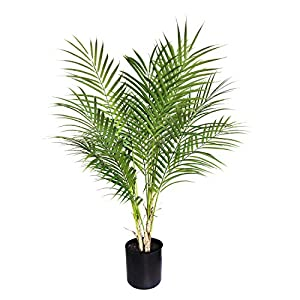 "Silk Flower Arrangements BESAMENATURE 30"" Little Artificial Paradise Palm Tree Plant, Fake Tropical Palm Tree for Home Office Decoration"