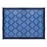 Camco Large Reversible Outdoor Patio Mat - Mold and Mildew Resistant, Easy to Clean, Perfect for Picnics, Cookouts, Camping, and The Beach (6' x 9', Lattice Blue Design) (42876)