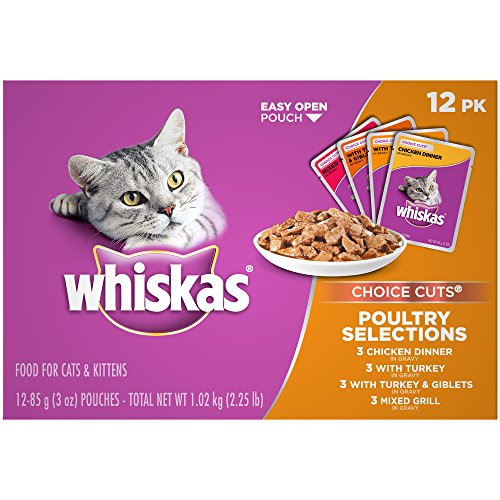 WHISKAS CHOICE CUTS Poultry Selections Variety Pack Wet Cat Food Pouches 3 Ounces (Pack of 48)