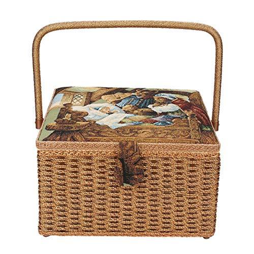 Emoshayoga Caja de Manualidades de Costura portátil Cesta de Costura Reteo Uso doméstico Almacenamiento de Herramientas de Tejer para Herramientas de Costura