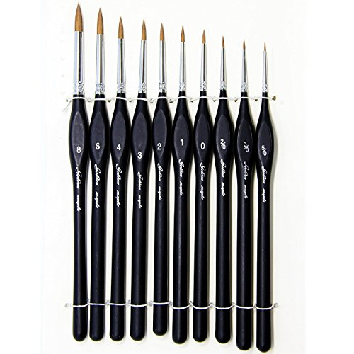 Fuumuui Miniature Fine Detail Art Paint Brush Set for modeling and games workshop Painting Watercolor, Oil, Acrylic, Nail, Face, Scale Model Painting, Line Drawing(10pcs)