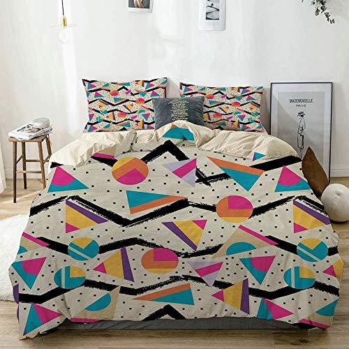 Juego de funda nórdica beige, patrón geométrico estilo vintage de los años 80 con triángulos y círculos a la moda de Memphis, juego de cama decorativo de 3 piezas con 2 fundas de almohada Sofá antialé