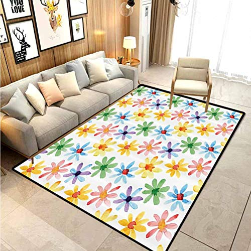 Floral Classroom Rug Porch Rug Colorful Flowers Spring Season Nature Garden Theme Watercolors Hand Painted Artwork Modern Indoor Home Living Room Floor Carpet Multicolor 4 x 5 Ft