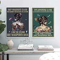 強い女性の心に強く訴える引用ポスターは女の子の贈り物を印刷します、蝶の女の子抽象的なキャンバスの絵画インテリア北欧の壁の芸術の装飾40X60cmX2絵画 インテリア フレームなし painting インテリア、玄関、リビングと寝室の飾りに最高