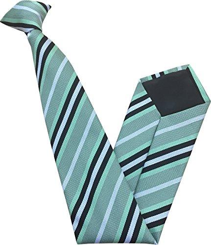 Cravate à Clipser - Menthe Vert avec Noir et Blanches Rayures