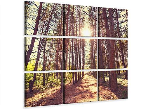 Canvarto Tableau sur Toile en 59 Parties Lumière au Bout du Chemin forestier, 180x180cm (9x60x60cm) | Tableau sur Toile avec Crochet de Suspension | Impression sur Toile
