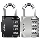 ORIA 2 Pcs Cerradura de Combinación, Candado de Seguridad con Combinaciones de 4 Dígitos Reajustable, Ideal para Locker de Gimnasia Escolar, Maleta de Equipaje Viaje, Archivadores y Más
