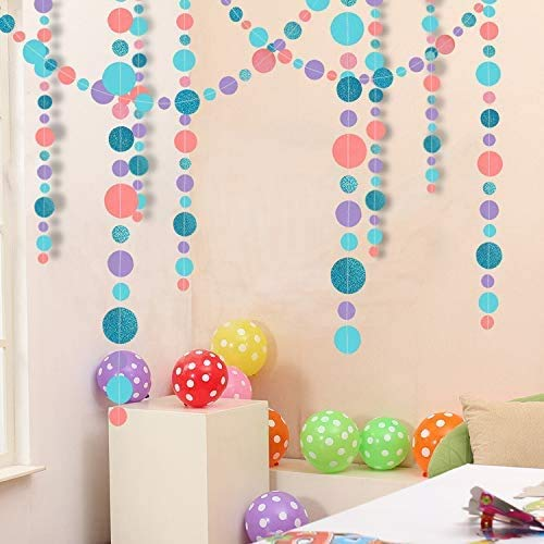 52Ft Hanging Pastel Paper Circle Dot Polk Garland for Baby Shower Birthday Party Decoration Purple Pink Blue Bubble Streamer Backdrop for Mermaid Under The Sea Beach Wedding Party Home Decorations