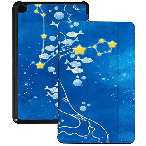 QIYI Slimshell Case Fits All-New Amazon Fire 7 Tablet (9th Generation, 2019 Release) Kids Protective Cover Adjustable Stand Smart Shell for Kindle 7 Inch Tablet - Pisces