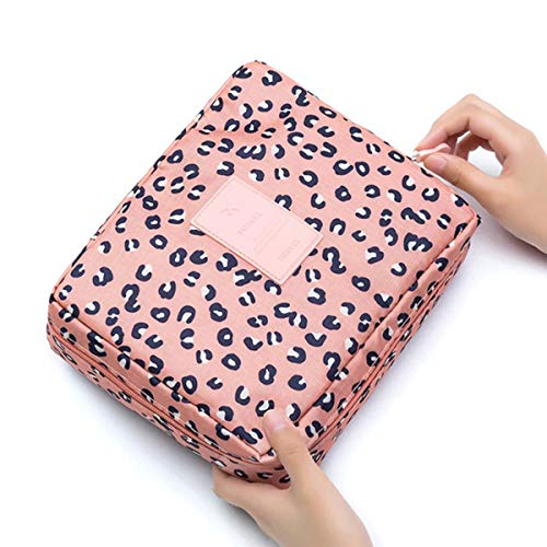 Tianhaik Sac à cosmétiques Portable de Grande capacité Multifonction Floral Sacs de Toilette Sac à Main Sac de Rangement pour Femmes Voyage Double Fermeture éclair Organisateur Rose Imprimé Leopard