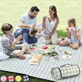 ZAZE Extra Large Picnic Outdoor Blanket, 80''x80'' Waterproof Foldable Blankets Gingham Picnic Mat for Beach, Camping on Grass Picnic Blankets (Green and White)