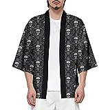 CIZEUR Hombre Hippie Camisa Kimono Japonés Estampado Holgado Manga 3/4,M Calavera