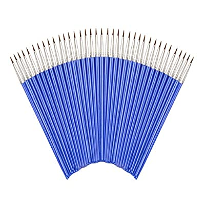 Flat Paint Brushes Set?50 Pcs Art Paintbrushes for Kids/Artists/Painters/Beginners/Students ?Short Plastic Handle?Nylon Hair Brushes for Acrylic Oil Watercolor Art Painting
