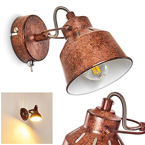 Wandlamp Safari, verstelbare wandlamp van metaal in roestbruin/wit, 1 vlam, 1 x E14 stopcontact, max. 40 Watt, wandvlek in retro/vintage uitvoering, geschikt voor LED-lampen