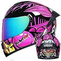 フルフェイスモーターサイクルヘルメット、DOT認定の4シーズン衝突防止ヘルメットモーターサイクルレーシングスポーツヘルメット男性と女性の通気性のあるパーソナリティデザイン D,S