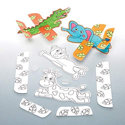 """Baker Ross Gleitflugzeuge """"Dschungeltiere"""" zum Ausmalen (8 Stück) – perfekt als kleine Party-Überraschung oder Geschenk für Kinder"""