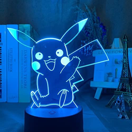 Anime Pokemon Figuras Luz de Noche LED de acrílico para niños Decoración Manga Modelo Modelo Tos DE Regalo NIÑO Lámpara de Mesa 3D de los Juguetes Siete Colores(BB29)