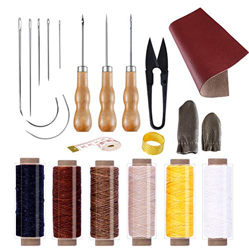 BUTUZE Convenient Leather Craft Sewing Kit 22 Pieces Leather Sewing Repair Kit with Simple Method for Beginner-Leather Sewing Tools for Sewing/Leather Craft DIY/Leather Working