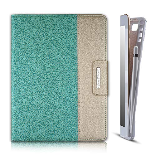 Thankscase Case for iPad 9.7 2018 2017 / iPad Pro 9.7 / iPad Air 2, Rotating TPU Smart Cover with Pencil Holder, Swivel Leather Case with Wallet Pocket, Hand Strap, Smart Cover (Gold Jade)