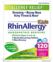 Boiron Rhinallergy Kid's Allergy Relief Homeopathic Medicine for Sneezing, Runny Nose, Itchy Throat, Non-Drowsy, 120 Tablets, 120 Count