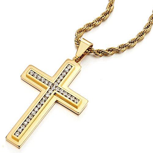 COOLSTEELANDBEYOND Color Oro Grande Colgante de Cruz, Collar de Hombre Mujer, Acero Inoxidable, con Circonita, 75cm Cadena