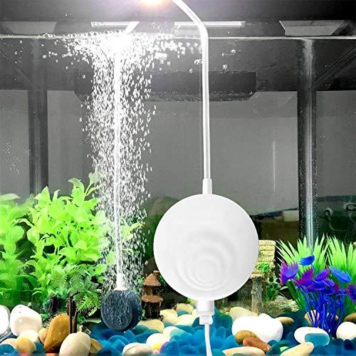 uksunvi Aquarium Nano Luftpumpe Silent Oxygen Mini Luftpumpe, die Neue kleine Sauerstoffpumpe 4,5 ml / min 1 W Sauerstoffpumpe mit Luftstein und Silikonluftschlauch (rund weiß)