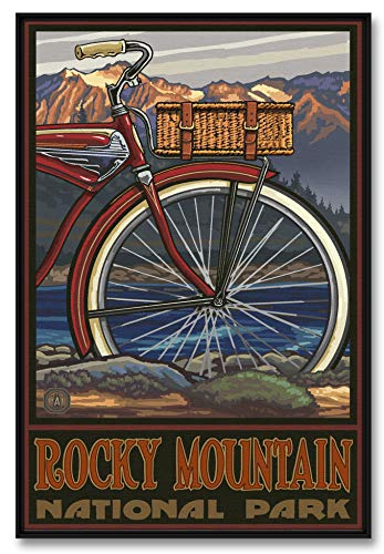 Rocky Mountain National Park Fat Tire Bike Professionally Framed Giclee Archival Canvas Wall Art for Home & Office from Original Travel Artwork by Artist Paul A. Lanquist 24' x 36'
