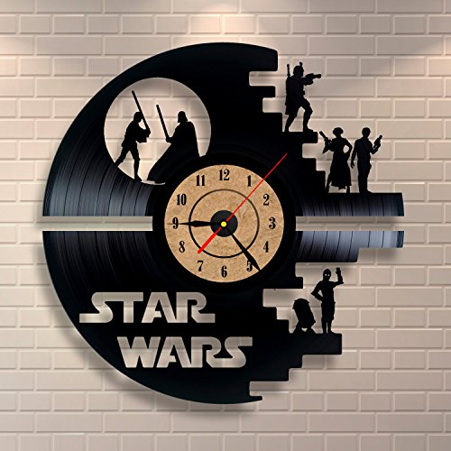 Reloj de pared negro de Star Wars Vinilo Diseño Expediente