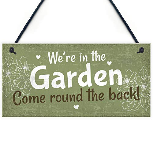 RED OCEAN Were In The Garden Front Door Plaque Summer House Sign Garden Shed Mum Nan Friend Gifts