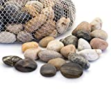 Royal Imports 5lb Large Decorative Polished Gravel River Pebbles Rocks for Fresh Water Fish Animal Plant Aquariums, Landscaping, Home Decor etc. with Netted Bag, Natural