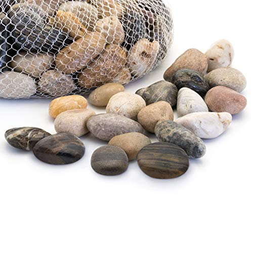 Royal Imports 5lb Large Decorative Polished Gravel River Pebbles Rocks for Fresh Water Fish Animal Plant Aquariums, Landscaping, Home Decor etc. with Netted Bag, Medium - Natural